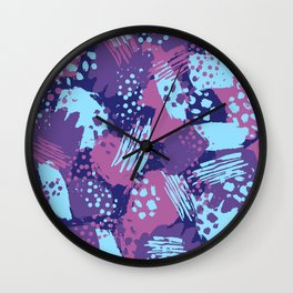 Modern brush blots Wall Clock