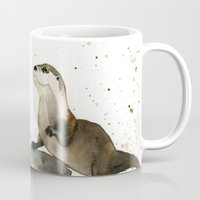 otters Mugs featuring Otters by Priscilla George