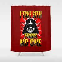 sith Shower Curtains featuring Don't Take No Sith!  |  Darth Vader by Silvio Ledbetter