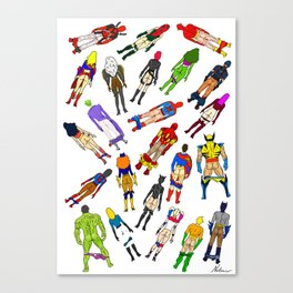 Superhero Butts with Villians - Light Pattern Canvas Print
