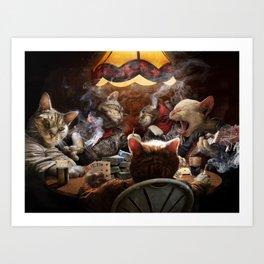 Cats play poker Art Print