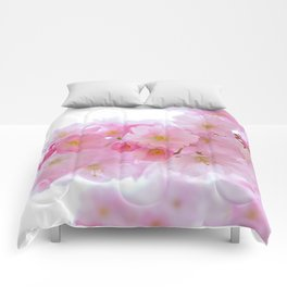Pink Cherry Blossoms Comforters