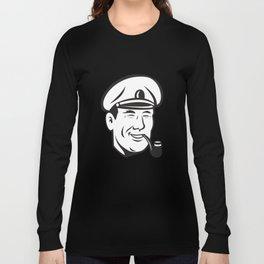 Sea Captain Smiling Smoke Pipe Retro Long Sleeve T-shirt