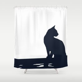 Black Cat  Sitting On the Fence Shower Curtain