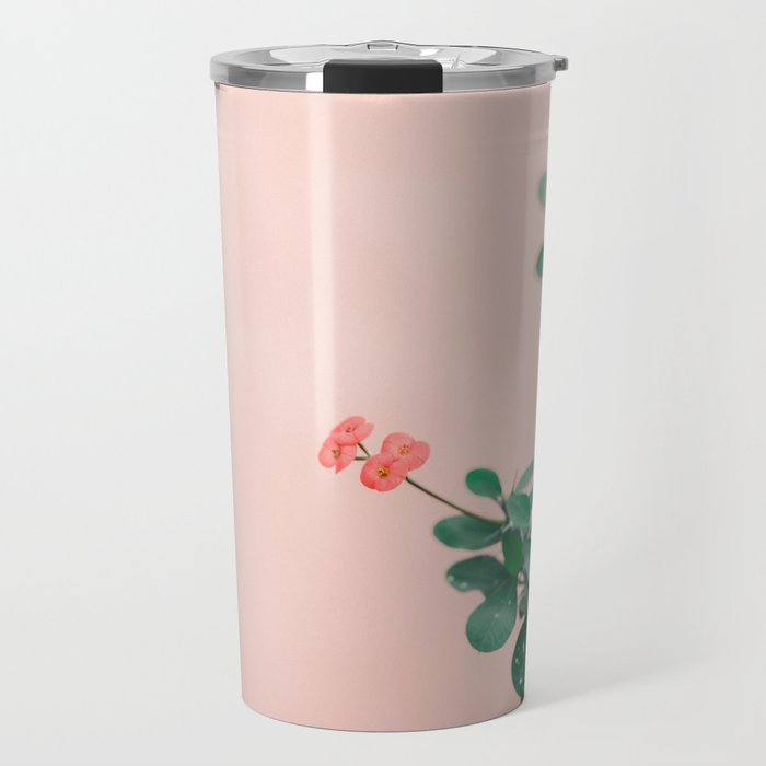 Floral photography print | Green on coral | Botanical photo art Travel Mug