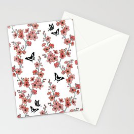 Sakura butterflies in peach pink Stationery Cards