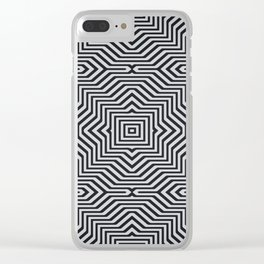 Minimal Geometrical Optical Illusion Style Pattern in Black & White Clear iPhone Case