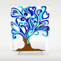 murakami Shower Curtains featuring Tree of waves by Marcy Murakami