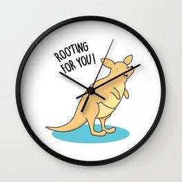 Rooting For You Cute Kangaroo Pun Wall Clock
