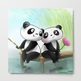 Panda Lovers Metal Print