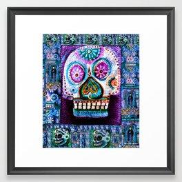 White Sugar Skull Framed Art Print