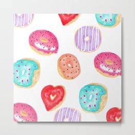Modern cool hand painted watercolor donuts pattern Metal Print