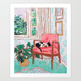 Little Naps - Tuxedo Cat Napping in a Pink Mid-Century Chair by the Window Art Print