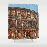 rome Shower Curtains featuring Rome by BenJ Curtis