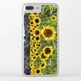 Sunflower Fields Of Dreams Van Goth Clear iPhone Case