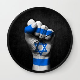 Israeli Flag on a Raised Clenched Fist Wall Clock
