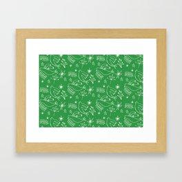 Christmas Dove Green Framed Art Print