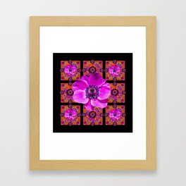 PURPLE ANEMONE FLOWER BLACK PATTERN Framed Art Print