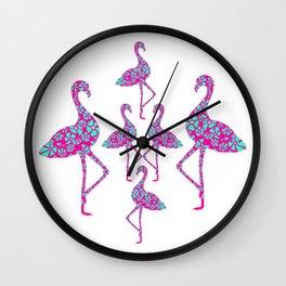 Fancy Flamingos Wall Clock