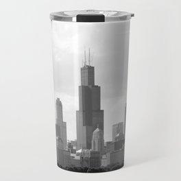 Chicago Skyline Black and White Travel Mug