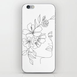 Minimal Line Art Woman Face II iPhone Skin
