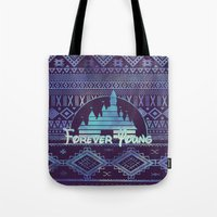 forever young Tote Bags featuring forever young by Sara Eshak