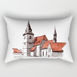 A Calm Czech Village Colored in Sienna Rectangular Pillow