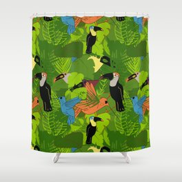 Tropical dawn, birds of paradise Shower Curtain