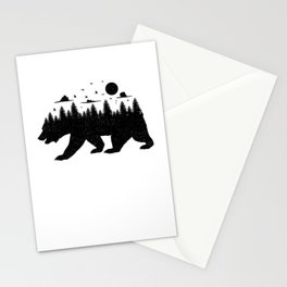 Bear Forest T Shirt Grizzly Silhouette Motif Nature Fusion Stationery Cards