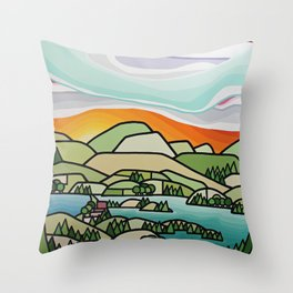Lakes and Orchards Throw Pillow