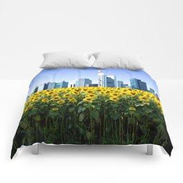 Frankfurt Germany Skyline Sunflower Field Comforters