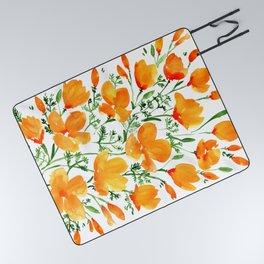 Watercolor California poppies Picnic Blanket