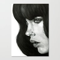 photograph Canvas Prints featuring Girl by BlackNYX