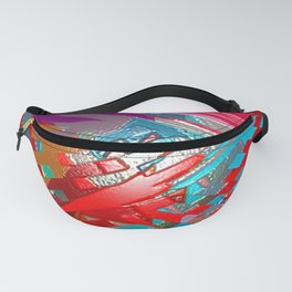 Abstract pink blue purple patchwork design Fanny Pack