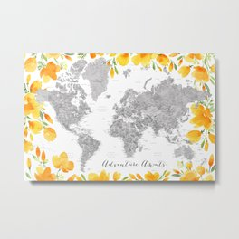Adventure awaits, gray watercolor world map with US state capitals and watercolor California poppies Metal Print