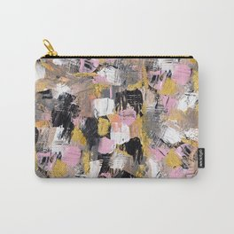 Modern acrylic brushstrokes pink salmon gold black white hand painted Carry-All Pouch