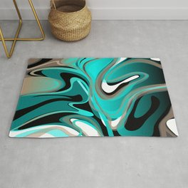 Liquify 2 - Brown, Turquoise, Teal, Black, White Rug