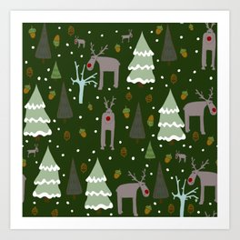 Winter Reindeer Art Print
