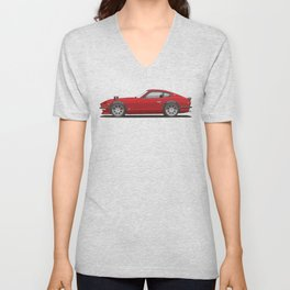 Legendary Classic Red 240z Fairlady Vintage Retro Cool German Car Wall Art and T-Shirts Unisex V-Neck