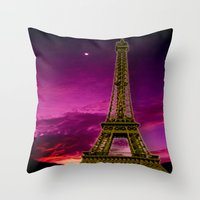 eiffel tower Throw Pillows featuring Eiffel Tower  by Elena Indolfi