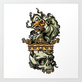 Deathly Lion -  Lion on Dead Skull Art Print