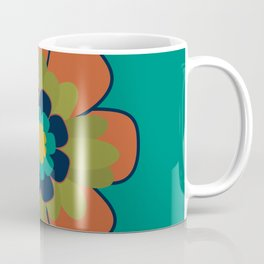 Morelia 3 Flower - Retro Floral in Orange, Olive, Mustard, Turquoise, and Teal Coffee Mug