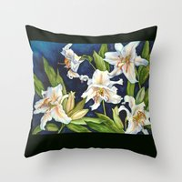 casablanca Throw Pillows featuring Casablanca Lilies by Frances Bledsoe