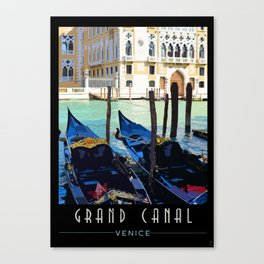 Venice Vintage Travel Poster - Gondolas on Grand Canal Canvas Print