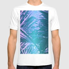 Tropical Palms White Mens Fitted Tee MEDIUM