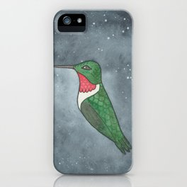 Ruby-Throated Hummingbird - Heart Chakra - Watercolor Painting iPhone Case