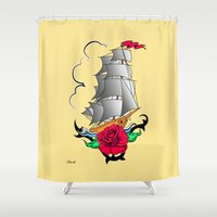ship Shower Curtains featuring ship by mark ashkenazi