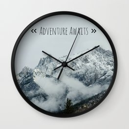 Adventure Awaits - Mountain landscape photo, photography quote, mountain climbing Wall Clock
