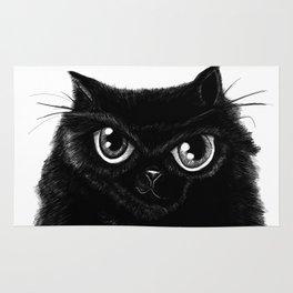 Sketch of my fat, black cat Rug