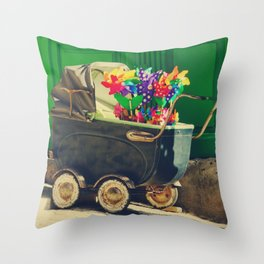 Vintage colorful baby stroller - Fine Art Photography Throw Pillow